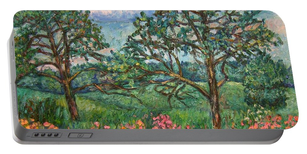 Landscape Portable Battery Charger featuring the painting Kraft Avenue In Blacksburg by Kendall Kessler