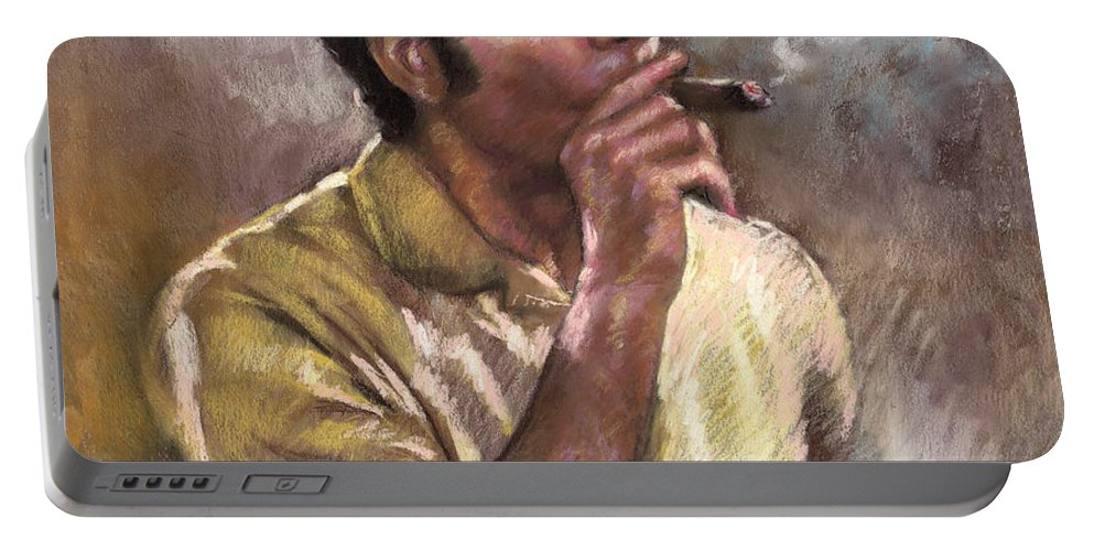Kramer Portable Battery Charger featuring the pastel Kramer by Ylli Haruni