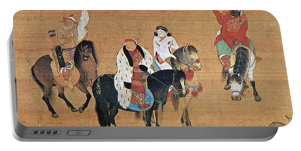 13th Century Portable Battery Charger featuring the painting Kublai Khan Hunting by Granger