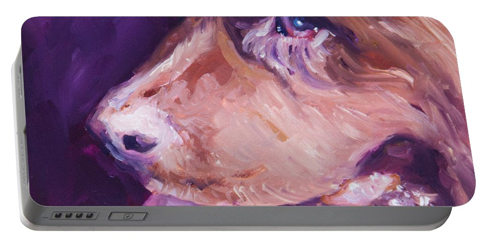 Dog Portable Battery Charger featuring the painting L-o-l-a Lola by Sheila Wedegis