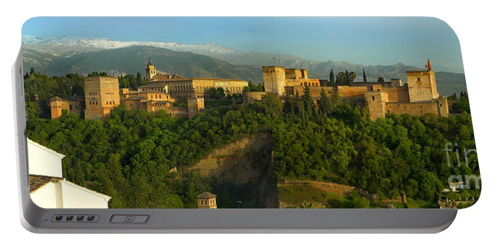 The Alhambra Portable Battery Charger featuring the photograph La Alhambra Palace by Guido Montanes Castillo