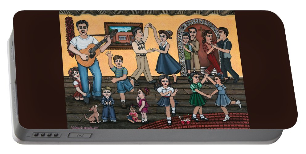 La Bamba Portable Battery Charger featuring the painting La Bamba by Victoria De Almeida