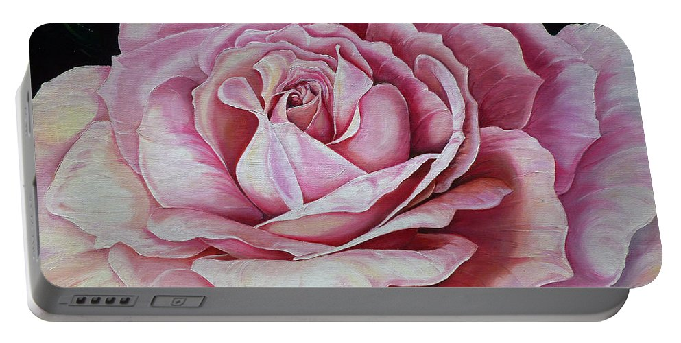 Rose Painting Pink Rose Painting  Floral Painting Flower Painting Botanical Painting Greeting Card Painting Portable Battery Charger featuring the painting La Bella Rosa by Karin Dawn Kelshall- Best