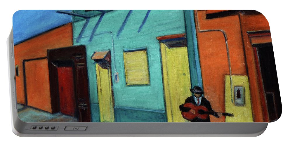 Landscape Portable Battery Charger featuring the painting La Boca Morning II by Xueling Zou