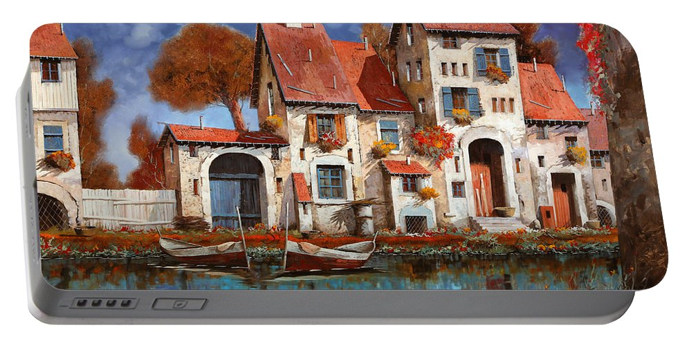 Little Village Portable Battery Charger featuring the painting La Cascina Sul Lago by Guido Borelli