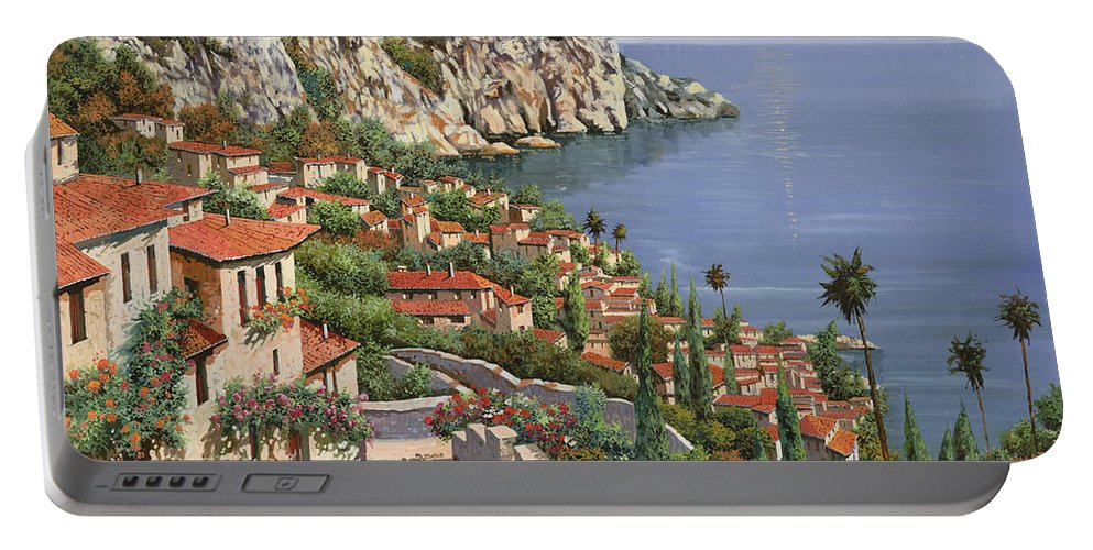 Seascape Portable Battery Charger featuring the painting La Costa by Guido Borelli