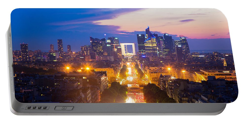 Paris Portable Battery Charger featuring the photograph La Defense And Champs Elysees At Sunset In Paris France by Michal Bednarek