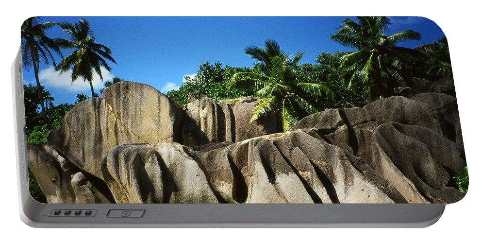 Ocean Portable Battery Charger featuring the photograph La Digue Island - Seychelles by Juergen Weiss