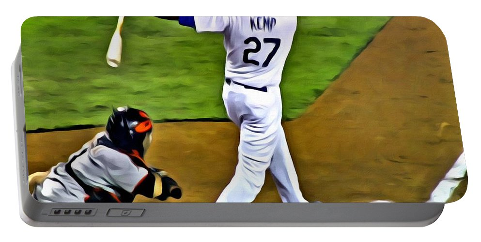 Mlb Portable Battery Charger featuring the painting La Dodgers Matt Kemp by Florian Rodarte