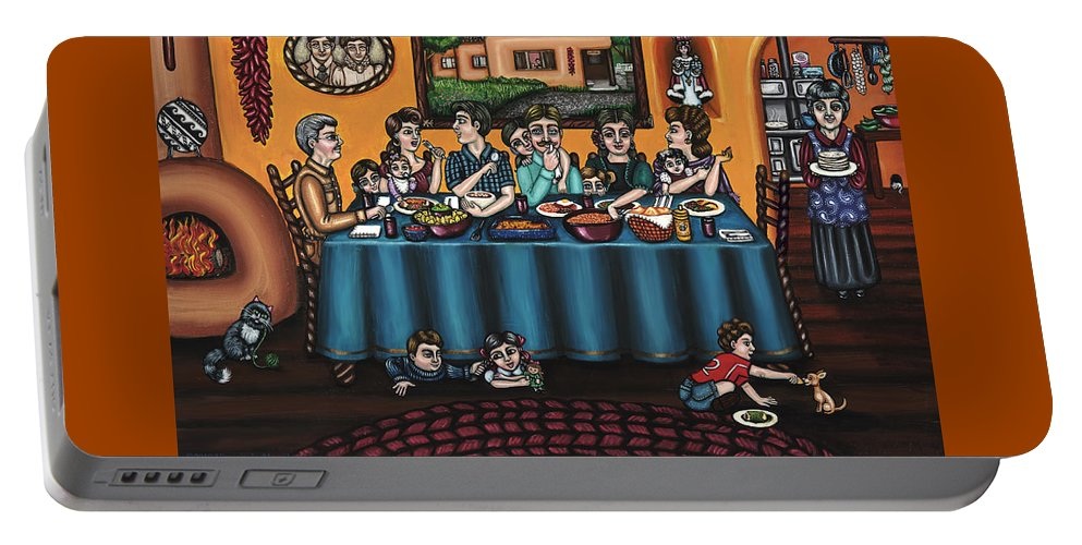 Hispanic Art Portable Battery Charger featuring the painting La Familia Or The Family by Victoria De Almeida