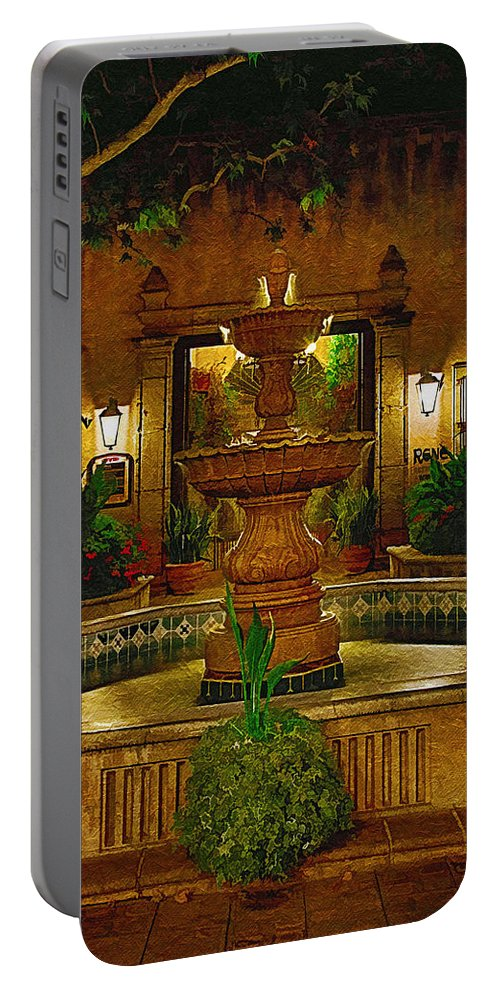 Fountain Portable Battery Charger featuring the photograph La Fuente At Tlaquepaque by Priscilla Burgers