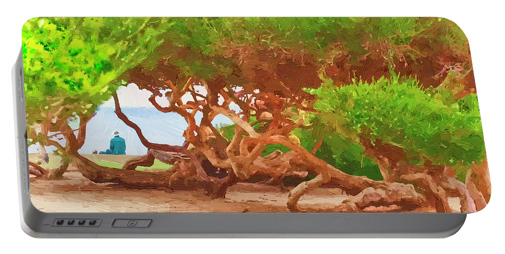 La Jolla Portable Battery Charger featuring the painting La Jolla California by Angela Stanton