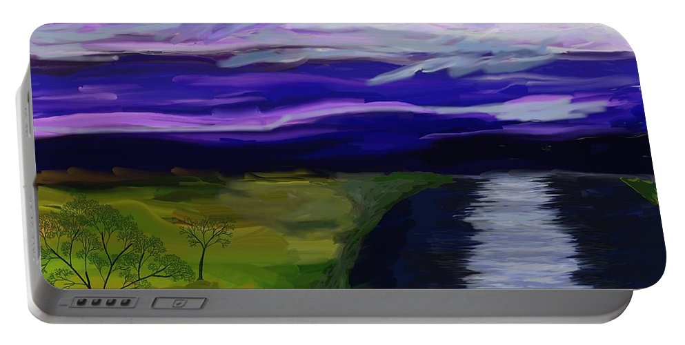Moon Portable Battery Charger featuring the painting La Luna 7 by Jeanne Fischer