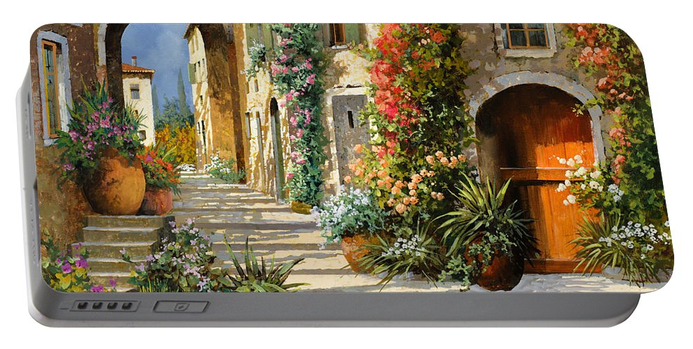Landscape Portable Battery Charger featuring the painting La Porta Rossa Sulla Salita by Guido Borelli