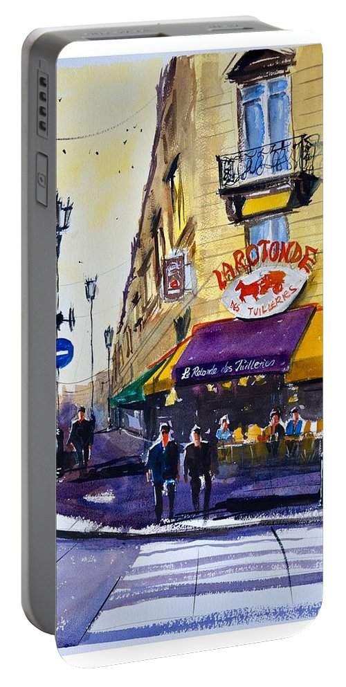 Paris Portable Battery Charger featuring the painting La Rotonde Des Tuileries by James Nyika
