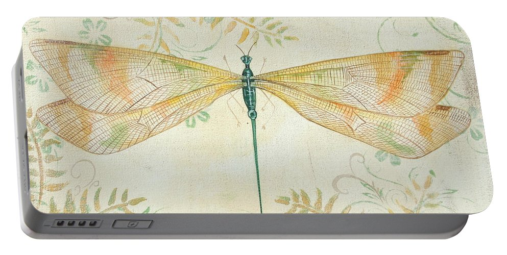 Acrylic Painting Portable Battery Charger featuring the painting La Sauge Libellule-3 by Jean PLout