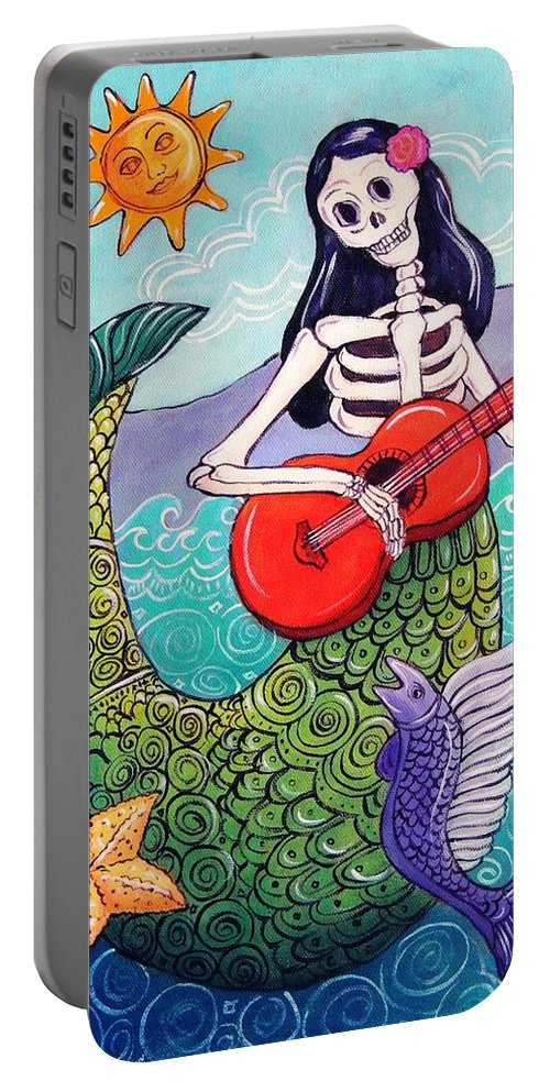 Dia De Los Muertos Portable Battery Charger featuring the painting La Sirena by Candy Mayer