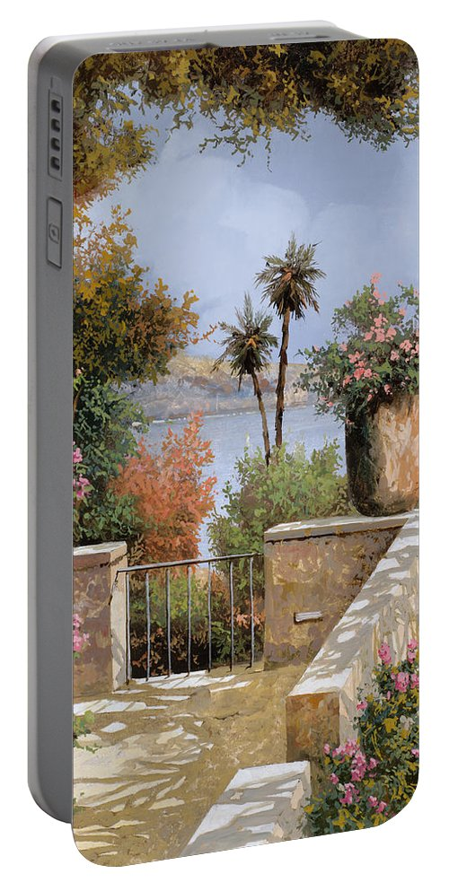 Terrace Portable Battery Charger featuring the painting La Terrazza Un Vaso Due Palme by Guido Borelli