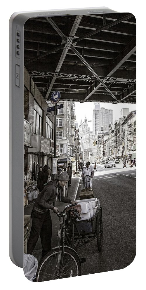Workers Portable Battery Charger featuring the photograph Laboring Under The Bridge by Madeline Ellis