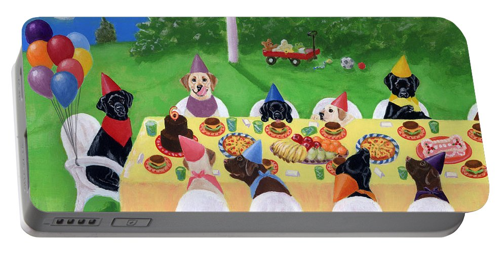 Labrador Retriever Painting Portable Battery Charger featuring the painting Labrador Party by Naomi Ochiai