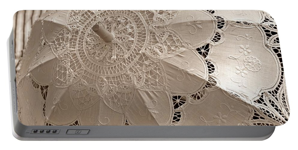 Lace Parasol Portable Battery Charger featuring the photograph Lace Parasol In Sepia by Lilliana Mendez