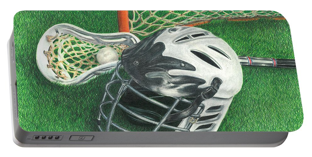Lacrosse Portable Battery Charger featuring the drawing Lacrosse by Troy Levesque