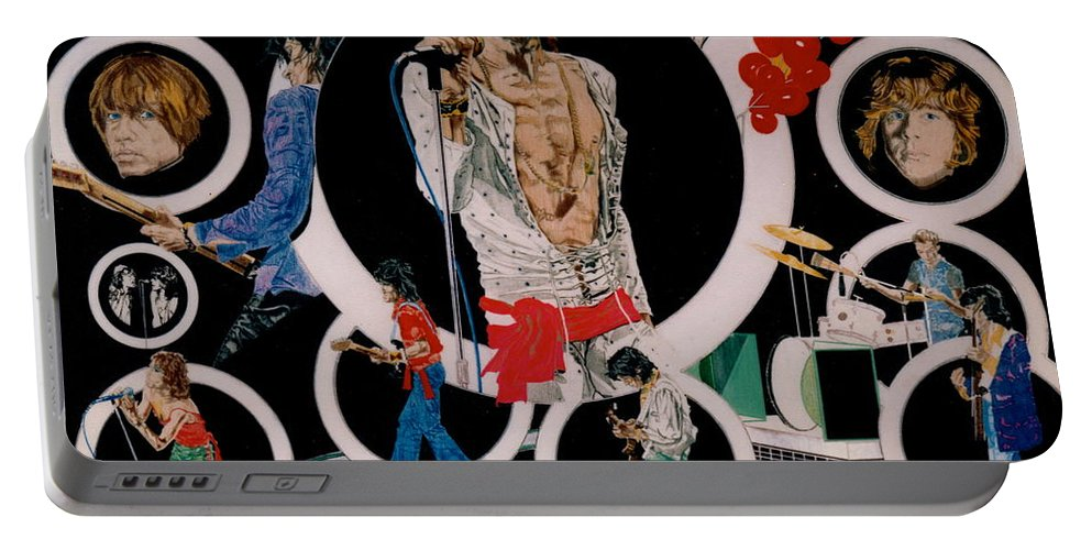 Mick Jagger;keith Richards;brian Jones;charlie Watts;bill Wyman;rock & Roll;music;guitars;water Portable Battery Charger featuring the drawing Ladies And Gentlemen - The Rolling Stones by Sean Connolly