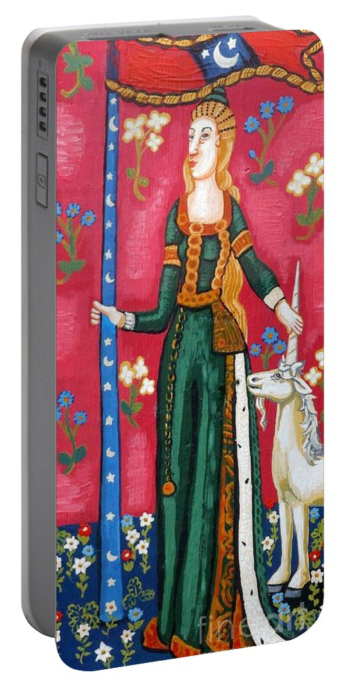 Unicorn Tapestries Portable Battery Charger featuring the painting Lady And The Unicorn La Pointe by Genevieve Esson