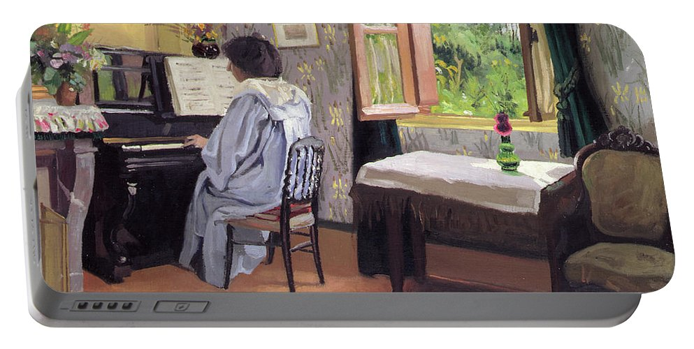 Interior Portable Battery Charger featuring the painting Lady At The Piano by Felix Edouard Vallotton