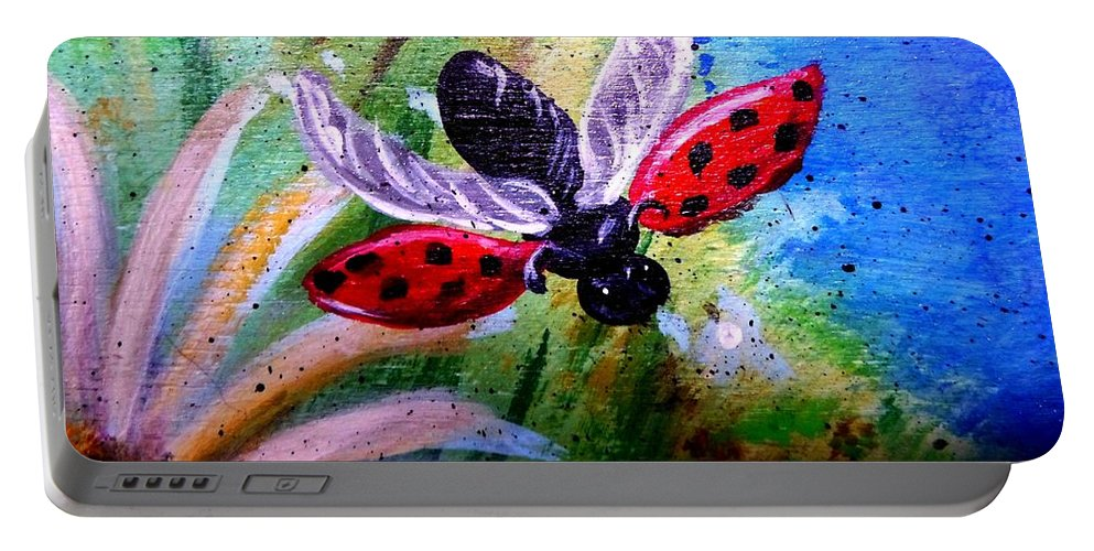 Lady Bug Portable Battery Charger featuring the painting Lady Bug Landing by Dori Anderson
