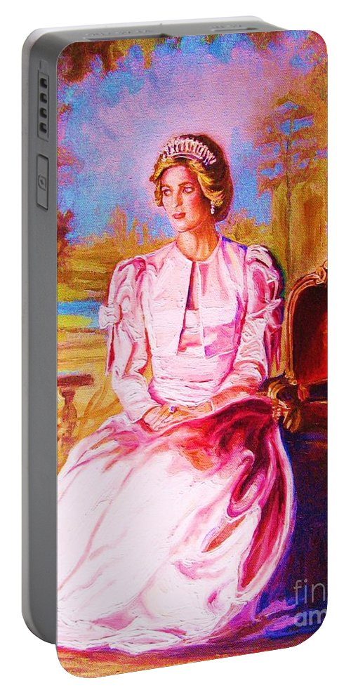 Princess Diana Portable Battery Charger featuring the painting Lady Diana Our Princess by Carole Spandau