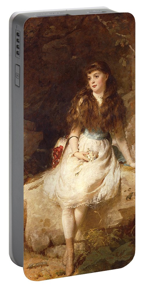 Aristocracy Portable Battery Charger featuring the painting Lady Edith Amelia Ward Daughter Of The First Earl Of Dudley by George Elgar Hicks