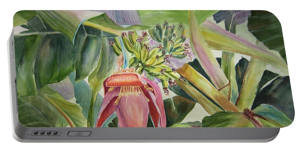 Banana Tree Portable Battery Charger featuring the painting Lady Fingers - Banana Tree by Roxanne Tobaison