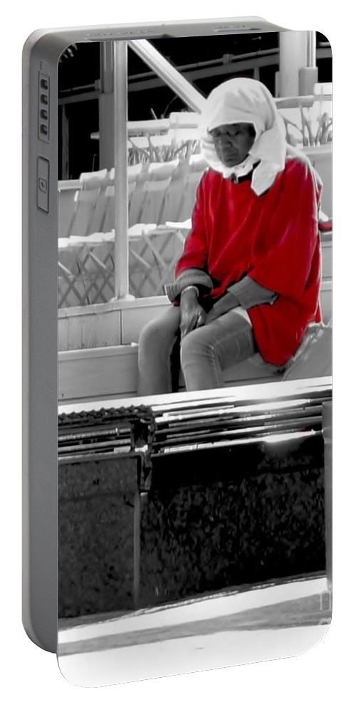 Red Portable Battery Charger featuring the photograph Lady In Red by Lilliana Mendez