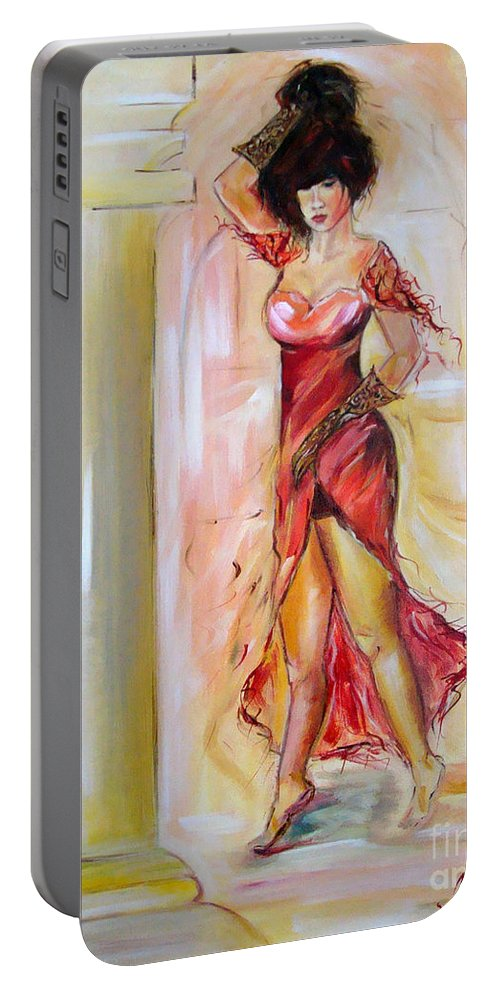 Contemporary Art Portable Battery Charger featuring the painting Lady In Red by Silvana Abel