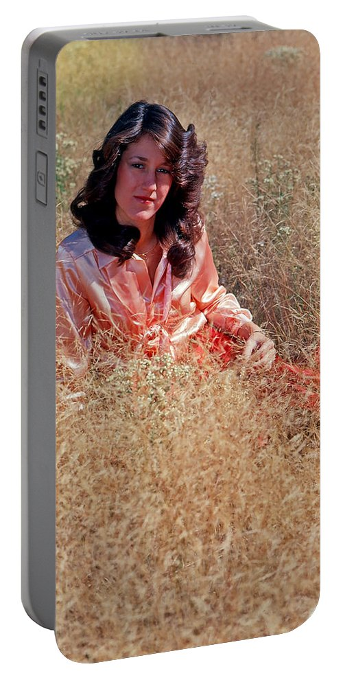 Model Portable Battery Charger featuring the photograph Lady In The Grass - Vert by Rich Walter