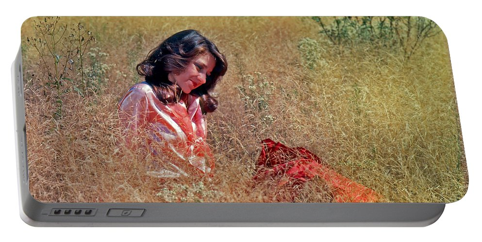 Model Portable Battery Charger featuring the photograph Lady In The Grass -horiz by Rich Walter