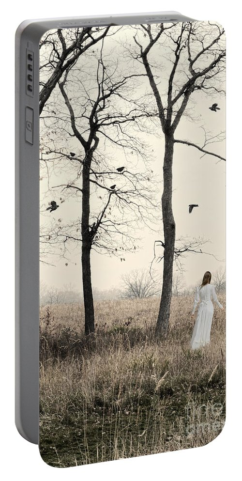 Woman Portable Battery Charger featuring the photograph Lady In White In Autumn Landscape by Jill Battaglia