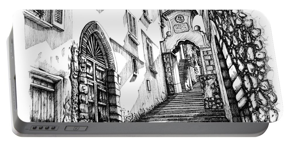 Portable Battery Charger featuring the drawing Lago Di Como-bellano by Franko Brkac