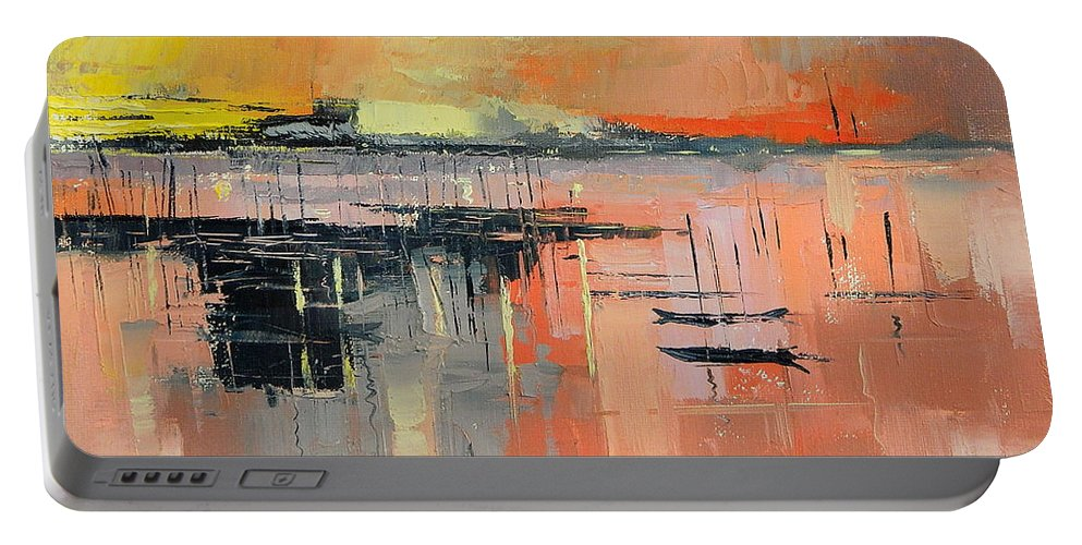 Lagos Portable Battery Charger featuring the painting Lagoon Sunset by Said Oladejo-lawal