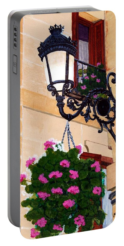 Street Lamp Portable Battery Charger featuring the painting Laguardia Street Lamp by Mike Robles