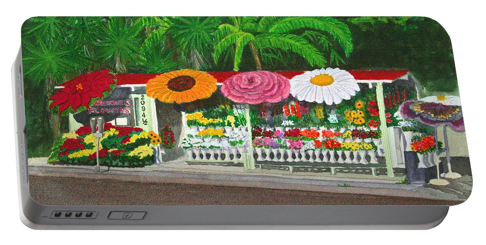 Flowers Portable Battery Charger featuring the painting Laguna Beach Flower Stand by Mike Robles