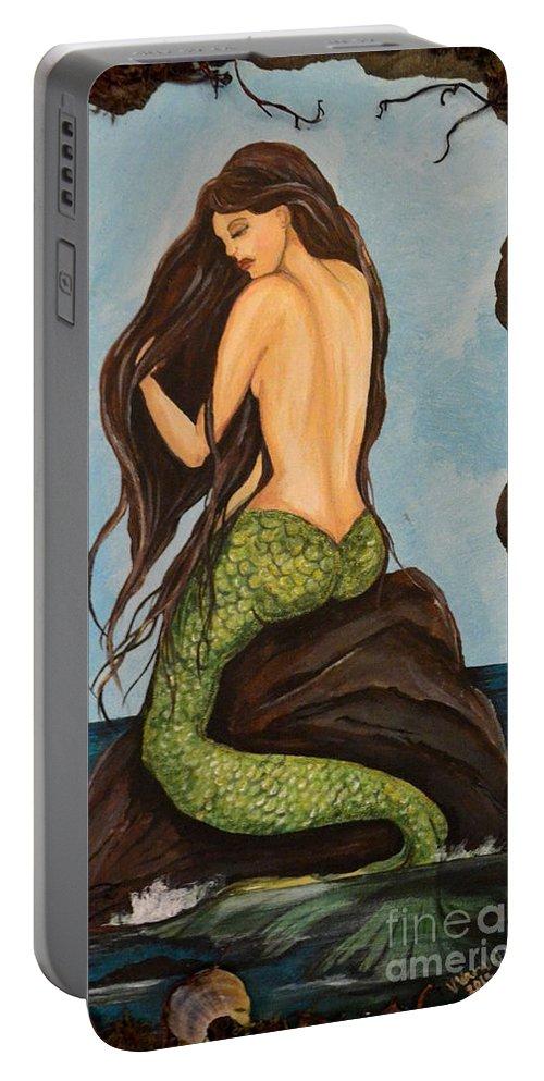 Laguna Beach Mermaid Painting Portable Battery Charger featuring the painting Laguna Beach Mermaid Marina by Valarie Pacheco