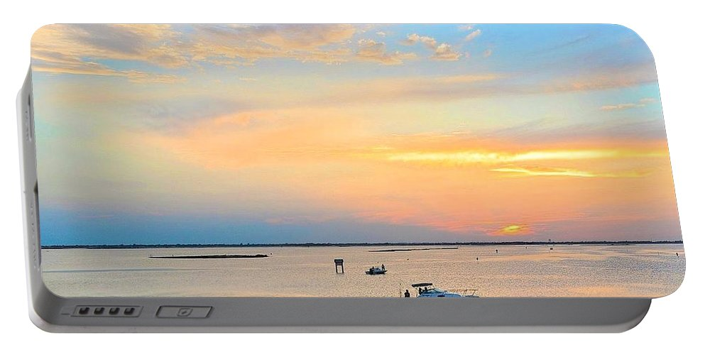 Corpus Christi Portable Battery Charger featuring the photograph Laguna Madre Fishing At Sunset by Kristina Deane