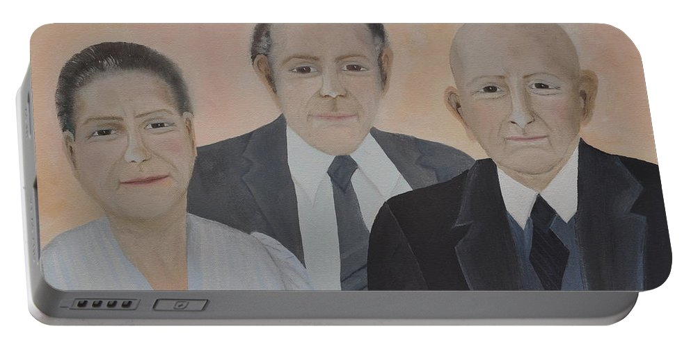Lahoud Family Portable Battery Charger featuring the painting Lahoud Family by Sally Rice