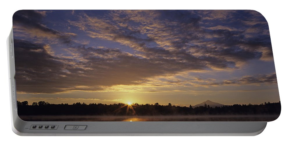 Nature Portable Battery Charger featuring the photograph Lake Cassidy With Mount Pilchuck by Jim Corwin