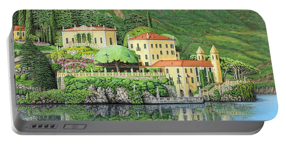 Lake Portable Battery Charger featuring the painting Lake Como Morning by Jane Girardot