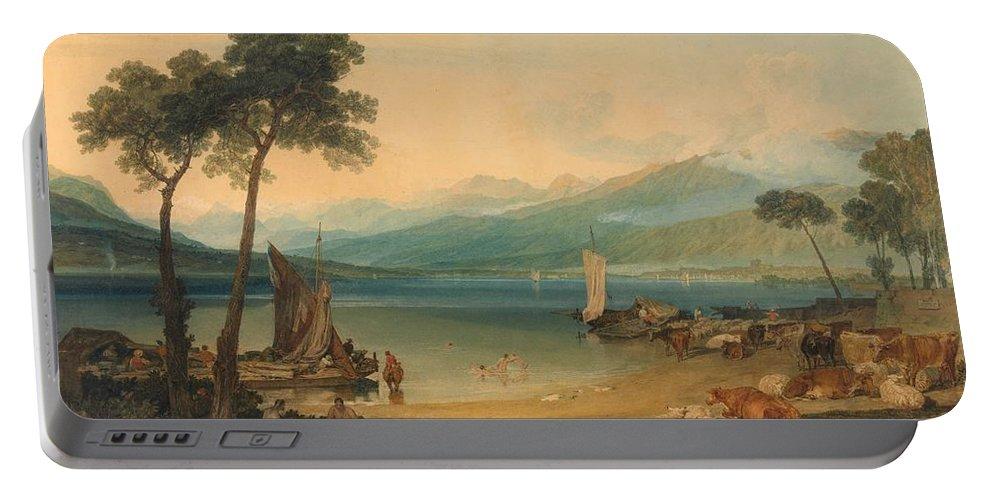 1802 Portable Battery Charger featuring the painting Lake Geneva And Mount Blanc by JMW Turner