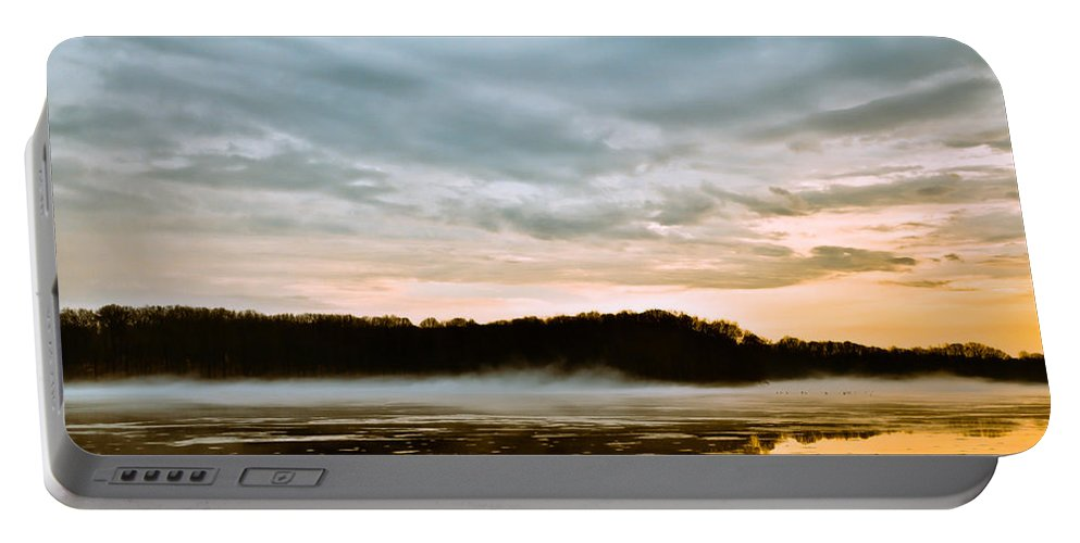 Youngstown Ohio Lake Hamilton Water Fog Sunset Sunrise Clouds Taaffe Hdr Nature Wildlife Portable Battery Charger featuring the photograph Lake Hamilton by Jimmy Taaffe