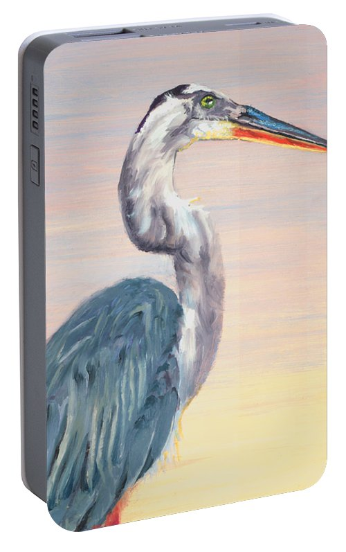 Water Fowl Portable Battery Charger featuring the painting Lake Heron Heron by Peter Bonk